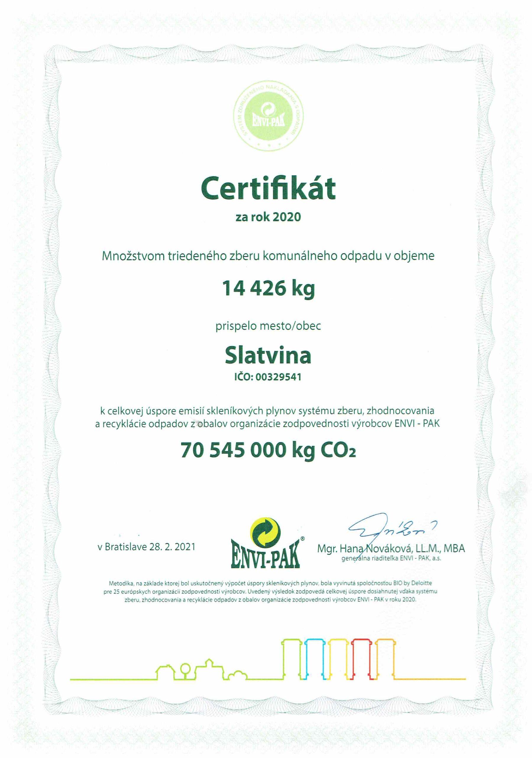 certifikát odpady